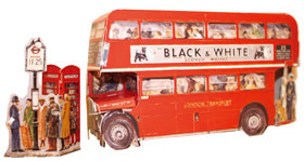 Double Decker Bus & Telephone Box 1950's